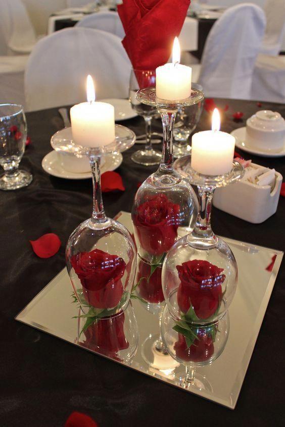 تزئین میز با قلب، گل و شمع 3