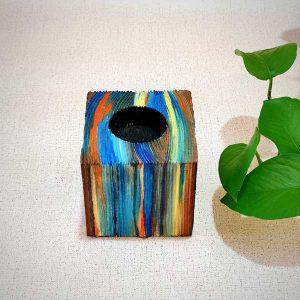 فروش جاشمعی چوبی مکعب رنگی